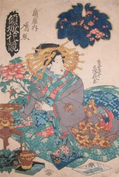 Courtesan from Ogiya Holding Peony, from the series Flower Contest of Courtesans by Seichotei Sencho, cira 1830.