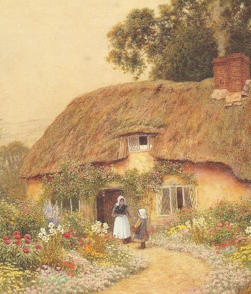 Peonies in the cottage garden 'A Devon Cottage' by Claude Strachan, 1865-1935.