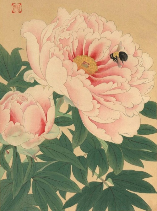A bee staggers out     of the peony. Basho